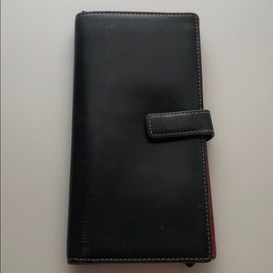Lodis black and red travel wallet